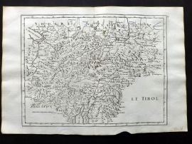 Le Rouge 1748 Antique Map. Le Tirol. Tyrol. Austria Italy